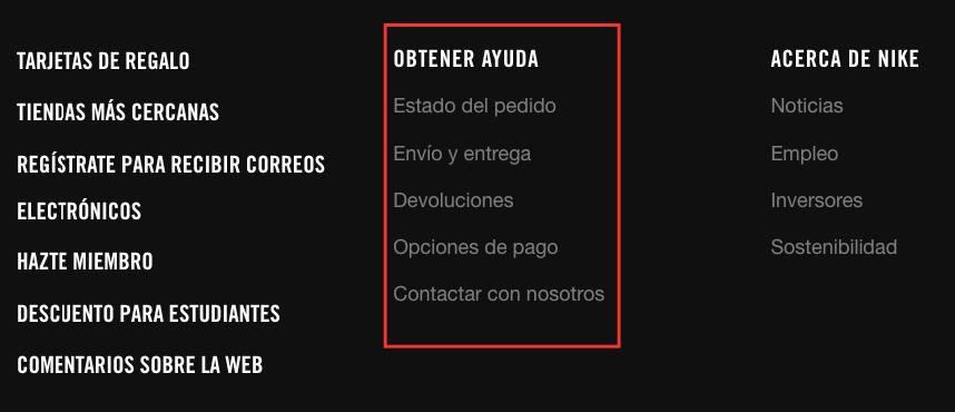 Ejemplo footer Nike, optimización para el usuario
