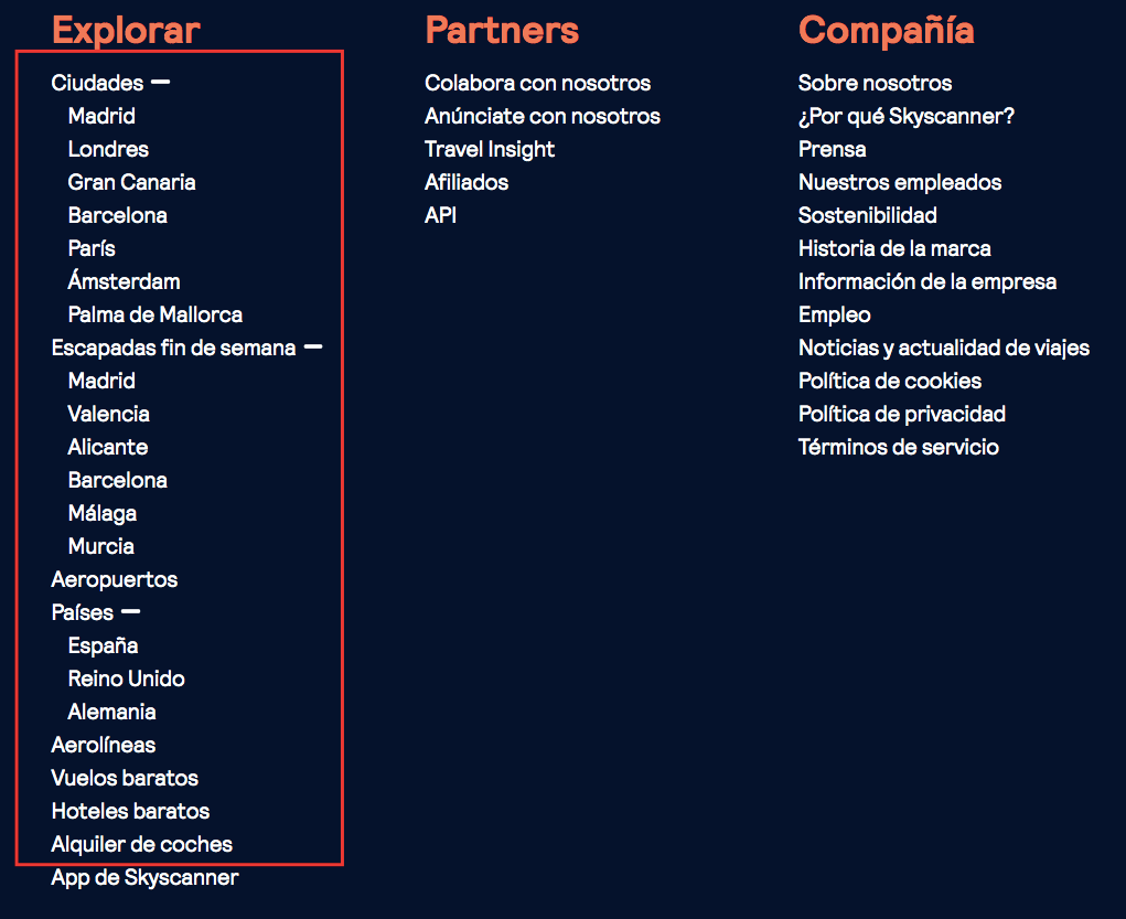 ejemplo footer skyscanner - optimización SEO